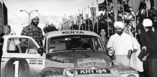 Joginder Singh, his brother Jaswant and their Volvo PV 544 claiming first place at the East African Safari Rally in 1965.