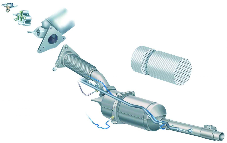 La linea di scarico viene modificata con l'introduzione a valle del primo catalizzatore: dell'iniettore addizionale con relativo raffreddatore, del secondo catalizzatore ossidante e del filtro antiparticolato vero e proprio.