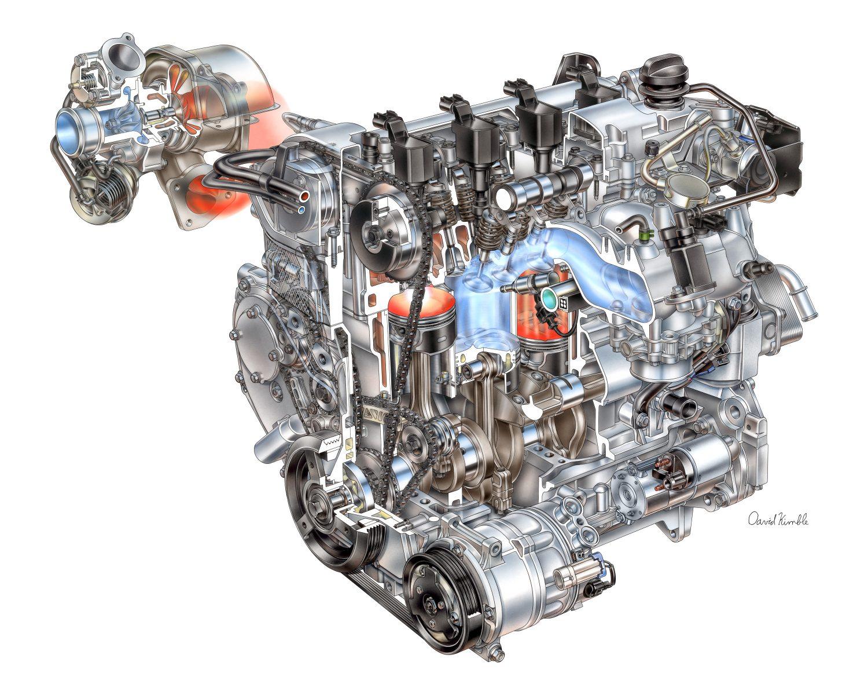 Un motore a quattro cilindri sovralimentato di produzione General Motors.