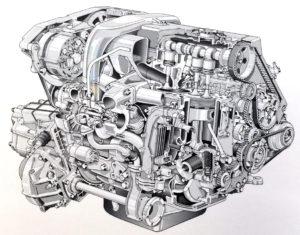 Spaccato motopropulsore lato distribuzione e turbocompressore (2445 cc, 100 CV)