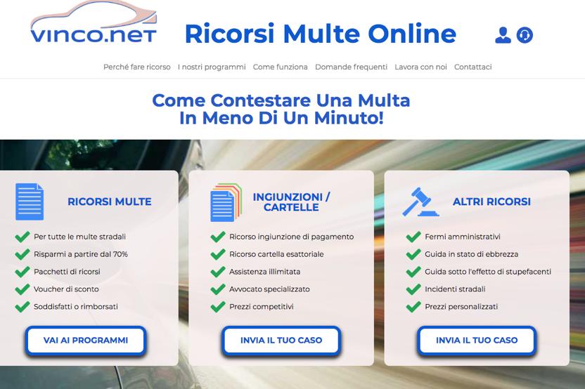 Vinco. net ricorso multe